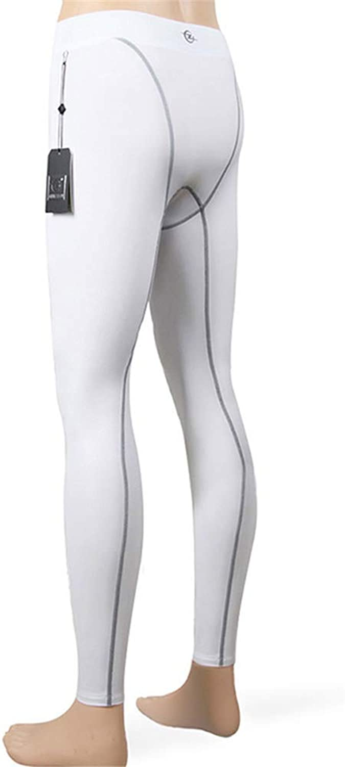 Mens Gym Training Leggings Running Fitness Tights (color   White, Size   L)