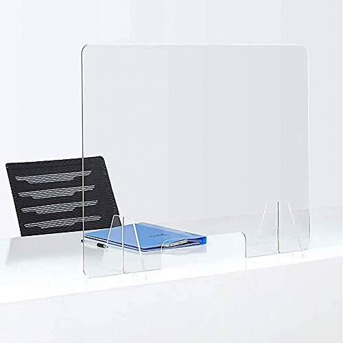 JWW Escudo De Plexiglás Protector contra Estornudos 50 * 60cm Mampara Protectora Transparente Portátil para Mostradores Y Ventillas De Transacciones