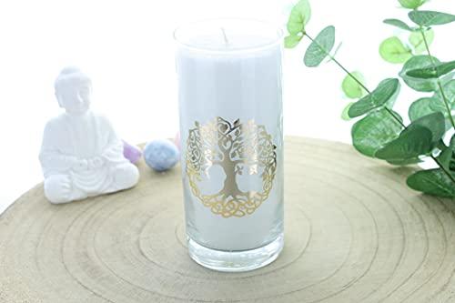 Candela in cera vegetale bianca albero della vita