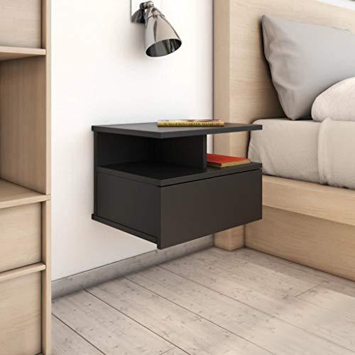 Daonanba 2pcs Tables de Chevet Murale Table de Chevet Flottante Organiseur de lit de Chevet Chevet Suspendu Florent étagère Murale avec 1 tiroir et Compartiments Ouverts (Noir)