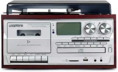 TYX-SS Reproductor de Discos de Vinilo con Bluetooth, Tocadiscos, Casete de CD, Radio Am FM y Entrada Auxiliar con Puerto USB y codificación SD, Control Remoto Incorporado-Rojo