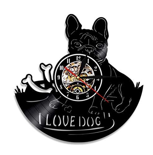 Reloj de Pared de Animales Qiqwo, Relojes de Pared de Vinilo con retroiluminación LED, Reloj Digital con CD de I Love Dog, decoración 3D Decorativa para el hogar, 12 Pulgadas