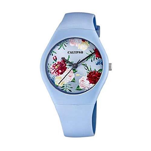 CALYPSO Reloj Modelo K5791/3 de la colección Sweet Time, Caja de 39 mm Correa de Caucho Azul Claro para señora