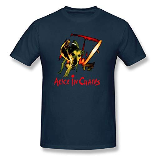 Alice In Chains Dog Men Short Sleeve T-Shirt Rock Cotton Tops Navy L