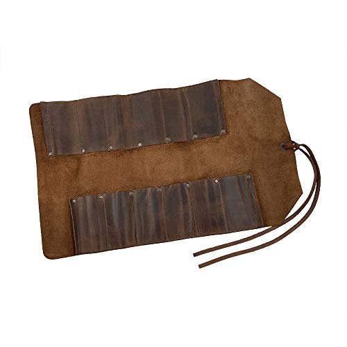 Hide & Drink, Leather Big Tool Roll Up Bag (12 Slots), Portable Carry On Pouch, Workshop Storage, Woodworking Tools Organizer, Vintage Style, Handmade - Bourbon Brown