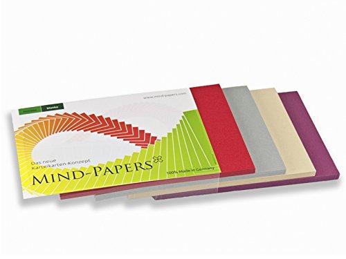 X17- Mind-Papers Nachfüllpack, DIN A5, 100 Karteikarten/Lernkarten, Farbe: beere, sandbraun, schiefer, rot
