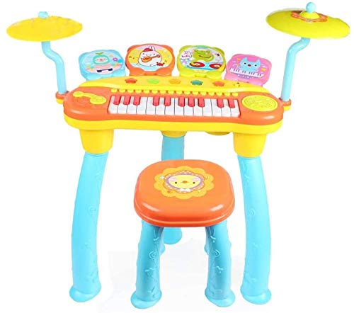 Mopoq Rock Drum Musik Piano Drum Kombination Early Education Intelligenz Elektrische Kinder Spieluhr 66.5x65x31.5cm Kinder pädagogisches Spielzeug (Color : Blau)
