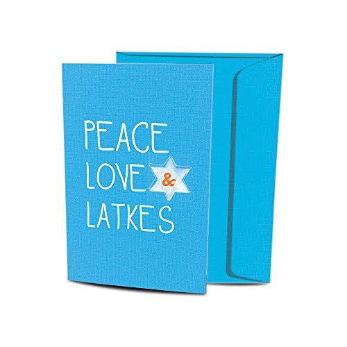 Tree-Free Greetings Hanukkah Cards and Envelopes, Set of 10, 5 x 7', Peace Love and Latkes (HB93225)