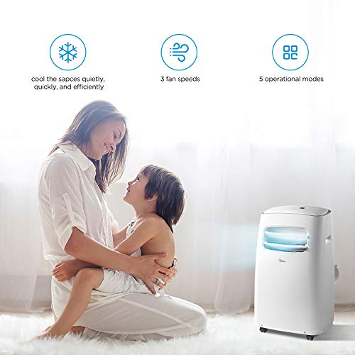 MIDEA MPF08CR81-E Portable Air Conditioner BTU Easycool AC (Cooling, Dehumidifier and Fan Functions) for Rooms up to with Remote Control, 8,000, White