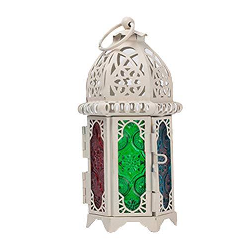 OSALADI Lámpara de mesita de Noche Lámpara de Escritorio LED Candelabro de Estilo marroquí con Forma de Linterna para Eventos, Fiestas y Bodas (Marco Blanco y Lados Coloridos)