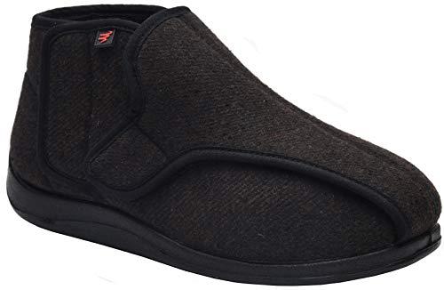YURUMA Hombres Mujer X-Ancho Ajustable Zapatos Turgente Pies Pantufla, Anciano Velcr Cómodo Botas, Diabético Obesidad Zapatillas 36-51 (E/Negro (Otoño/Invierno), 45/US 9.5 Hombres/UK 8.5)