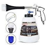 Buyplus High Pressure Turbo Cleaning Gun - Tornado Pro Car Interior Cleaner, Vehicle Seat Spray Tool Kit with Wash Brush Cloth, 1L Foam Bottle, for Air Compressor