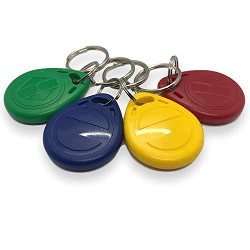 4 X NFC Tags | NXP Chip NTAG216 | memoria de 888 bytes | 4 colores | llaveros redondos | alta potencia de escaneo | Impermeable.
