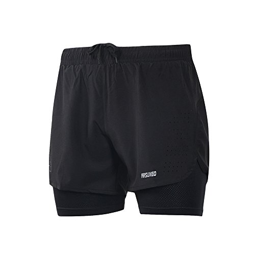 ARSUXEO Herren Active Training Laufshorts 2 in 1 B179 Schwarz M