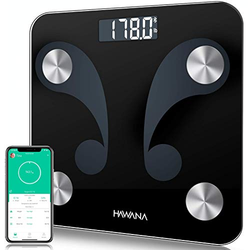 Body Fat Scale, HAWANA Digital Weight Scale Bathroom Scale with LCD Display, Step-On Technology, High accuracy 0.1lb Smart Bluetooth Scale Composition Analyzer with Smartphone App sync, 396 lbs, Black