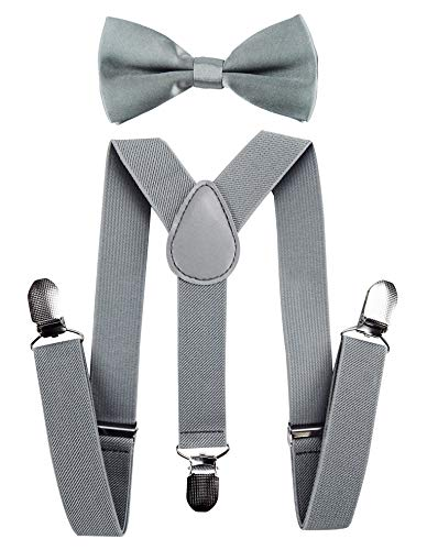 axy Hochwertige Kinder Hosenträger-Y Form mit Fliege- 3 Clips EXTRA STARK-Uni Farben (Hellgrau)
