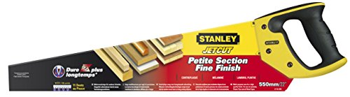 Stanley 2-15-244 Scie Égoïne Fabriquée en France - Coupe de Débit moyenne Section 550 mm - 11 dents/Pouce - Traitement Hardpoint - Poignée Bi matière - Traçage de 45° À 90°