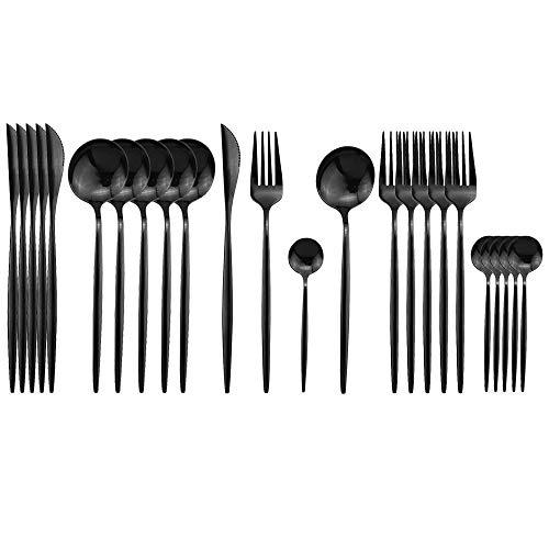 JASHII Schwarzes Besteck-Set, 24-teilig, Edelstahl Besteck-Set, Titan-Schwarz, modernes elegantes Geschirr-Set für Party, Weihnachten, Abendessen (schwarz)