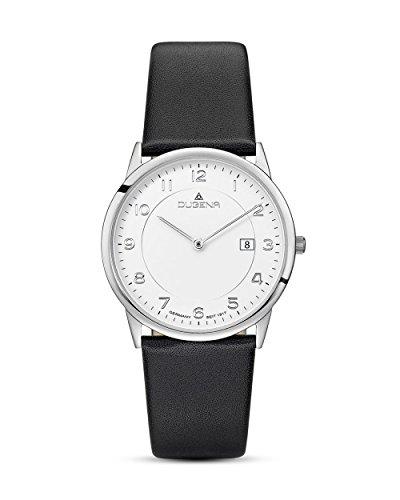 Dugena Herren Armbanduhr Modena XL Leder 38mm schwarz/weiß