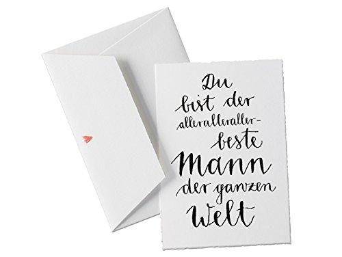 Spruchkarte - du bist der allerbeste MANN der Welt, Glückwunschkarte für Männer, Geburtstagskarte oder Grußkarte mit Herz Umschlag, Dankeschön zum Vatertag oder Geburtstag, Valentinstagsgeschenk klassisch