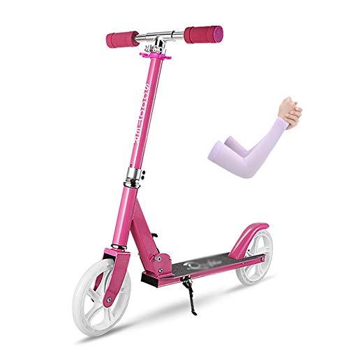Hou Hexin Trade Scooter de Aluminio Plegable 2 Ruedas Altura de Manillar Ajustable 90-105cm Sistema de absorción de Adultos Dobles para Adultos y Adultos de 12 años a 100 kg (Color : Pink)