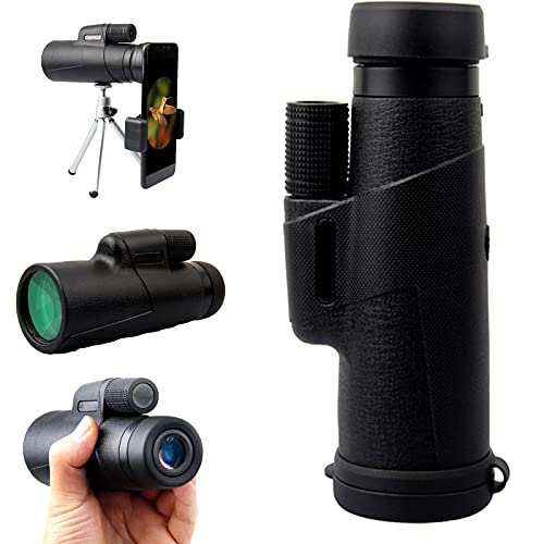 QUERT Telescopio monocular HD Mejorado 12X50, trípode monocular con Soporte para teléfono Inteligente para Adultos, telescopio con Zoom, para observación de Aves, Camping, Viajes