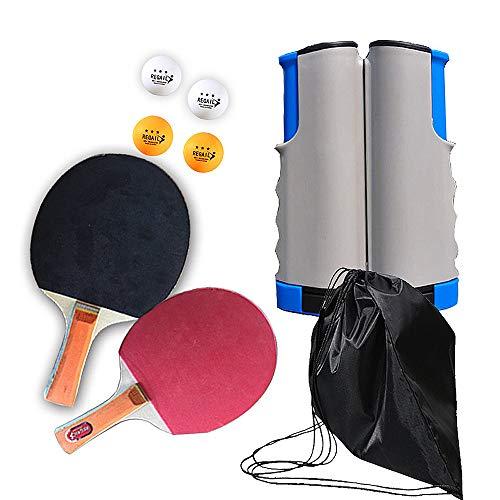 Pingpongpeddelset, draagbaar tafeltennisracket Telescopisch rek All-in-ONE Component, met 2 premium tafeltennisrackets en 4 pingpongballen, thuis Indoor Outdoor-activiteiten Speelwedstrijd