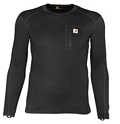 Carhartt Base Layer Men's Size Force Midweight Tech Thermal Base Layer Long Sleeve Shirt, Black, 3X-Large Tall