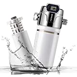 Miniwell Luxury Shower Water Filter L760-E101 with digital screen and Replaceable Cartridges, Shower Head Filter with Double Filters, Remove 99% Chlorine (Shower Filter) (White Color)