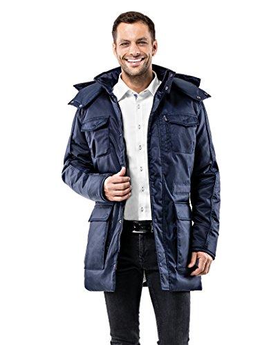 Vincenzo Boretti Herren Winter-Jacke dick warm gefüttert Parka kuschelig sportlich elegant Winter-Mantel Slim-fit tailliert lang für Outdoor Business mit Steh-Kragen und Kapuze dunkelblau M