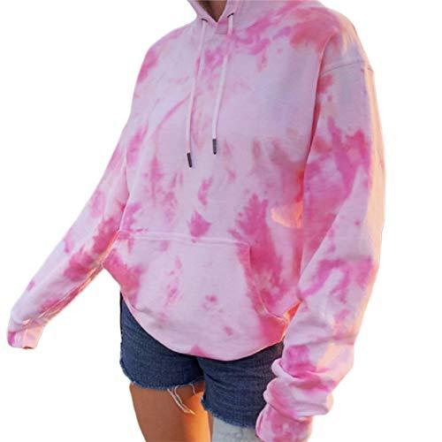 Generic Brands Felpe con Cappuccio da Donna Tie Dye Casual Manica Lunga Casual Manica Lunga Pullover con Cappuccio Felpa con Cappuccio Top con Tasca (Pink, S)
