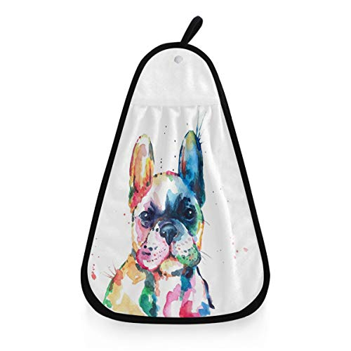 Kcldeci Watercolor French Bulldog Hand Towel Hanging Kitchen Towels Dog Puppy Pet Animal Cleaning Towels Dish Cloth Washcloths for Kitchen Bathroom Decor