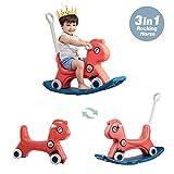 Wghz Baby Rocking Horse, 3 en 1 Baby Toys Ride on Car para 1 2 3 4 años Niños y niñas Juguetes para niños Juguete basculante para Interiores y Exteriores Carrito para bebés