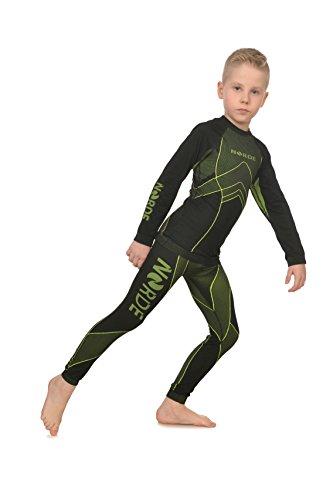 Freenord NORDE THERMOTECH Kinder Sport Thermoaktiv Atmungsaktiv Funktionswäsche (Hemd + Hose) Set (Schwarz/Lime, 110/116)