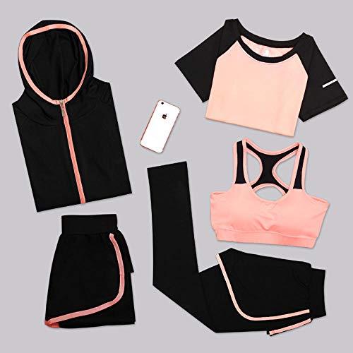 Bra Top Set Fuer Fitnesstraining Polsterung,Fitness Sport atmungsaktiver Laufanzug-Schwarz-Orange...