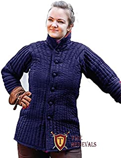 The Medieval Shop Thick Padded Ladies Gambeson Coat Aketon Jacket Armor - Navy Blue Costumes Dress SCA