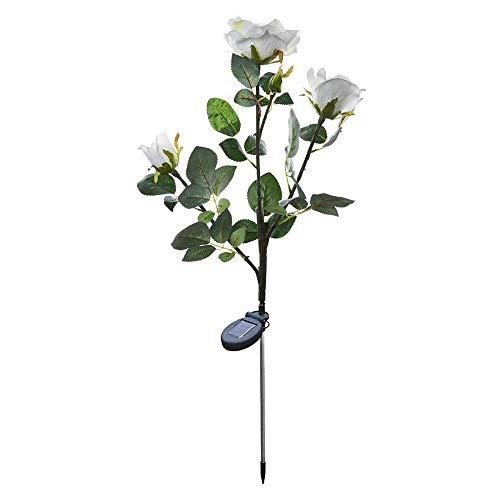 PopHMN Luz Solar de 3 Cabezas, luz de Noche de Flor Falsa LED Rosa Blanca para jardín de Exterior