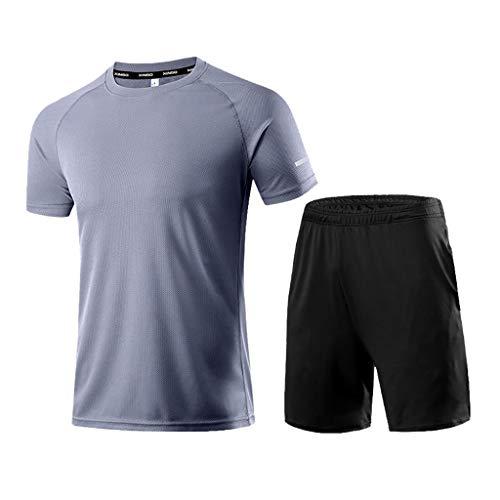 waotier Ropa Deportiva Verano para Hombres Ocio Deportivo/Moda Casual Color Puro Tops de Manga Corta + Shorts Conjuntos Deportivos