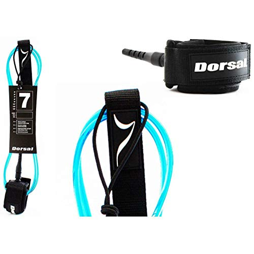 DORSAL Premium Surfboard 6 7 8 9 10 FT Surf Leash - Blue - 6 FT FCS Style - Blue