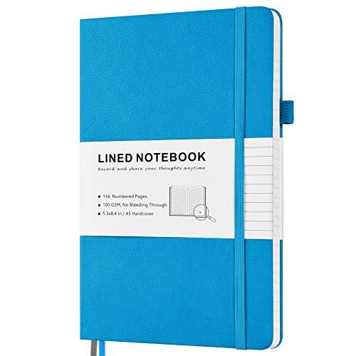 Cuaderno con rayas, tapa dura con páginas numeradas e índice, 2 bolsillos interiores, 2 marcapáginas Rib 100 g/m², papel grueso A5