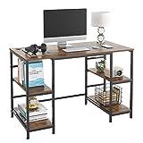 Homfa Mesa Ordenador Mesa Escritorio de Estilo Industrial para Oficina Estudio Salón con Marco de Hierro 4 Estantes Vintage 120x60x76.5cm