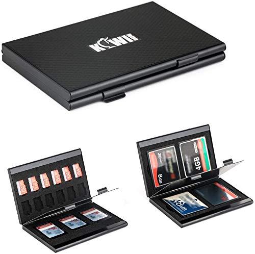KIWIfotos - Custodia protettiva in alluminio per schede di memoria SD MicroSD Micro SDXC SDHC CF (Compact Flash) TF e NS Game Card, porta schede SD con inserti in schiuma EVA personalizzabili