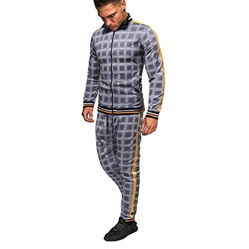 Conjuntos De Chándales De Primavera para Hombre, Cremallera De Impresión Top Pantalones Conjuntos Casual Hombre De Manga Larga Manguito Y Dobladillo S