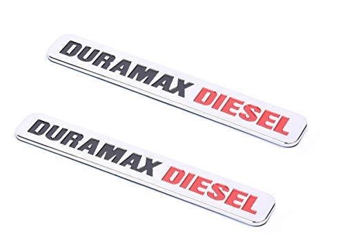 2 Pack Duramax Diesel Emblems Badge Compatible for SILVERADO 2500 3500 HD GMC SIERRA (Chrome)