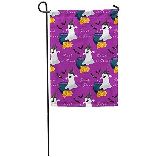 AllenPrint Seasonal Garden Flags,Fantasma Sveglio di Halloween in Pozione della Lanterna della Zucca del Costume della Strega Bandiere Sveglie del Cortile della Casa 45.7X32CM