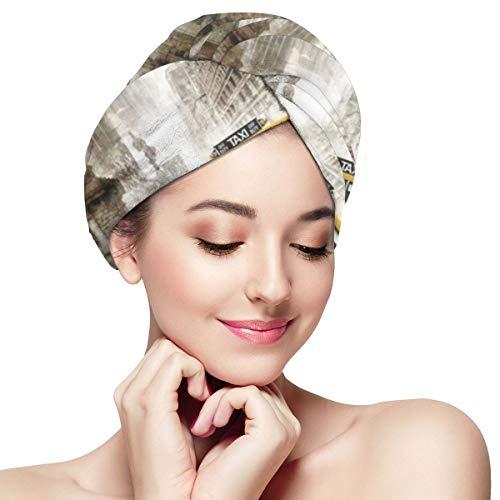 Tapa de microfibra para el cabello seco con diseño retro nostálgico de la estatua de la libertad, para baño, spa, spa, secado rápido, toalla de secado rápido, turbantes de pelo mojado, 11 x 28