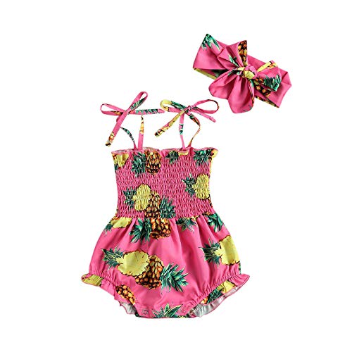 2 piezas Toddler Newborn Baby Girl mono sin mangas Sling Crop Top Girasol Bunny Piña Leopard Body Bow Hairband Piña rosa 0-3 Meses