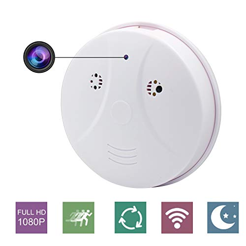 YCTONG Smoke Detector Camera Wireless Hidden WiFi Home Security Cameras with Night Vision Motion Detection Alarm Mini Video Recorder Wall Mount Surveillance Camcorder for House Office Pet Nanny Cam