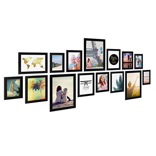 Photolini Set di 15 cornici per Foto Basic Collection Modern Nero in MDF, Accessori Inclusi/Collage Foto/Galleria Fotografica