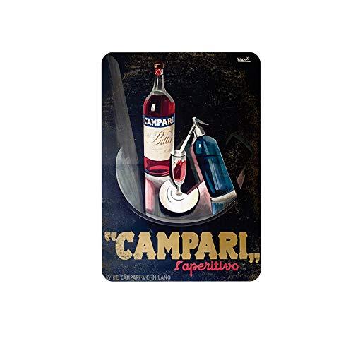 Mora color Spirituosen-Serie Campari Blechschild Vintage Metall Pub Club Cafe Bar Home Wandkunst Dekoration Poster Retro 20,3 x 30,5 cm